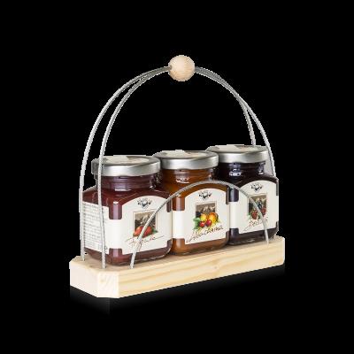 Confezione regalo in legno per 3 composte di frutta da 110g