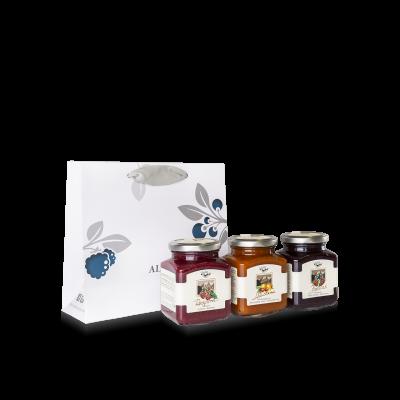 Borsetta di regalo per 3 composte di frutta da 335g
